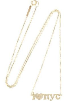 I Heart NYC 18-karat gold diamond necklace #necklace #women #covetme #jennifermeyer