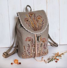 Backpack with handmade embroidery. Stylish backpack as a gift. Bags and backpacks handmade, author Julia Linen tale Embroidery Bags, Silk Ribbon Embroidery, Hand Gloves, Handmade Bags, Bag Making, Purses And Bags, Sewing Projects, Reusable Tote Bags, Backpacks