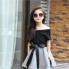 2016 Novo Quente de verão Meninas saia set, moda preto curto de mangas compridas T shirt + Arco saia 2 peça set, tutu meninas saia conjuntos de roupas em Conjuntos de roupas de Mãe & Kids no AliExpress.com | Alibaba Group