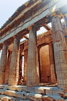 Greece! Loved this. Fun fact: previous pinner had that this was the Parthenon on the Acropolis, it is actually the almost fully intact Temple of Hephaistus above the ancient agora. Greece facts :) #hellas