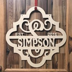 I love this simple brushed gold monogram sign Monogram Signs, Personalized Signs, Hotel Door, Realtor Gifts, Thing 1, Steel Art, Family Name Signs, Newlywed Gifts, Door Signs