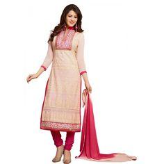 Voguish Cream & Pink Coloured Embroidered  Salwar Kameez