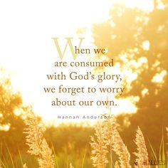 """""""When we are consumed with God's glory, we forget to worry about our own."""" (Hannah Anderson)"""