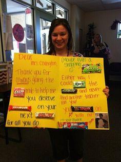 Cute teacher thank you card with snacks built in