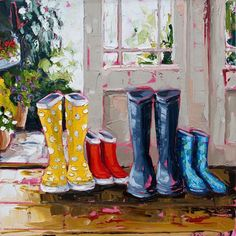 Whistle while you work by Irish Artist Roisin O'Farrell  60x60cm at Killarney Art Gallery -Sold