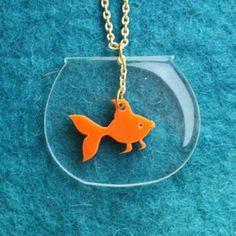 Goldfish Necklace,PlexiglassJewelry.. on Luulla