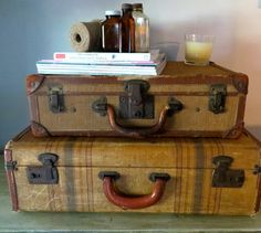 Vintage Luggage Vintage Suitcase Vintage straw by oZdOinGItagaiN, $80.00