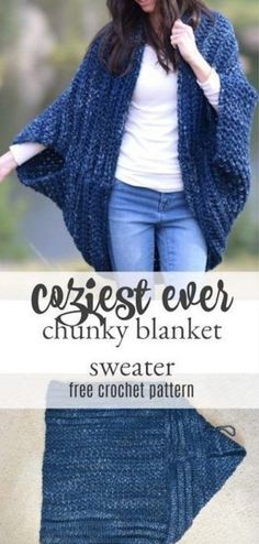 blanket sweater You are going to fall head over heels for these gorgeous Oversized Chunky Sweater Pattern Ideas and we have a video tutorial to show you how. Beau Crochet, Pull Crochet, Chunky Crochet, Cardigan Au Crochet, Black Crochet Dress, Crochet Shawl, Crochet Shrugs, Crochet Sweaters, Cardigan Pattern