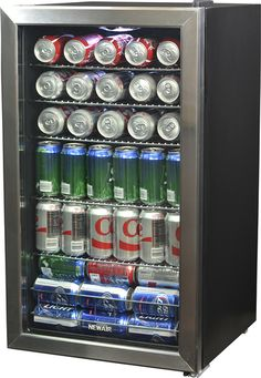 Shop NewAir Beverage Cooler Stainless steel at Best Buy. Find low everyday prices and buy online for delivery or in-store pick-up. Small Mini Fridge, Beverage Refrigerator, Drinks Fridge, Fridge Shelves, Bed Frame With Storage, Wine And Beer, Wine Storage, Black Stainless Steel, Adjustable Shelving