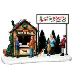 """LEMAX CHRISTMAS VILLAGE """"TREES & WREATH LOT"""" SKU No. 63282 TABLE ACCENT *2016*  #Lemax"""