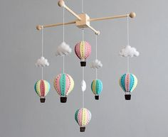 baby mobile  pink blue and turquoise wooden hot door ButtonFaceCo, £95.00