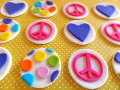 Fondant cupcake toppers, peace sign, fondant heart, fondnat polka dots, hippie toppers, flower power, girly birthday party by TopCakeDecors on Etsy https://www.etsy.com/listing/166523235/fondant-cupcake-toppers-peace-sign