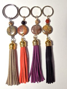 Key ring, Tassel keychain, jacket, zipper pull, light pull.  Suede ONE only