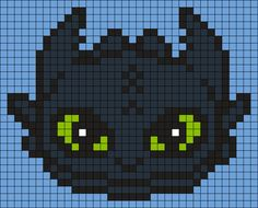 Toothless From How To Train Your Dragon (Square) Perler Bead Pattern / Bead Spr. - Toothless From How To Train Your Dragon (Square) Perler Bead Pattern / Bead Sprite - Melty Bead Patterns, Pearler Bead Patterns, Perler Patterns, Beading Patterns, Kandi Patterns, Quilt Patterns, Perler Bead Art, Perler Beads, Pixel Art Animals