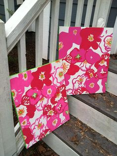 Lilly Pulitzer Print Canvas Duo- a great idea for old dresses/skirts/pants that you no longer wear.  Perfect for a tween/teen girl room!!