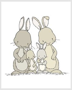 Bunny Nursery Art Bunnies Family of Four by SweetMelodyDesigns