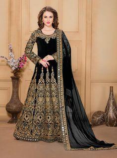 Black Taffeta Silk Floor Length Anarkali Suit 82622