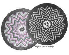 http://www.awin1.com/cread.php?awinmid=6939&awinaffid=255809&clickref=pinCrochet&p=https%3A%2F%2Fwww.etsy.com%2Flisting%2F186721344%2Fcrochet-rug-pattern-1940s-vintage-round  Crochet Rug Pattern 1940s Vintage Round Star Rug, Zig Zag Rug Crochet Pattern Chevron Rug Instant Download PDF- C15