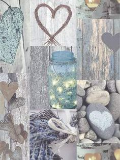 This beautiful Rustic Hearts wallpaper features a collage style heart themed design in natural tones and colours. The collection of images feature hearts shaped from rustic natural materials such as wood, twine and stone for a pretty shabby chic effect. Shabby Chic Living Room, Shabby Chic Bedrooms, Shabby Chic Kitchen, Vintage Shabby Chic, Shabby Chic Homes, Shabby Chic Furniture, Shabby Chic Decor, Antique Furniture, Painted Furniture
