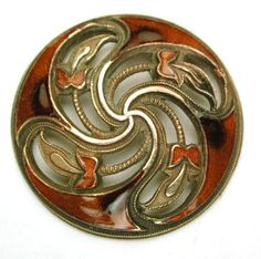 Pierced 'Pinwheel' Enamel Button  - France