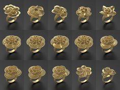ultra vision rings - 105 in one model stl 6 Gold Ring Designs, Gold Bangles Design, Gold Jewellery Design, Gold Jewelry, Gold Girl, Jewelry Model, Trendy Jewelry, Pendant Earrings, Pendant Set