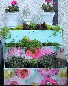 Look what I have been up to . 💕 I wanted a herb garden, but as we are moving I didnt want to make anything permanent to this house. Old Chest, Chest Of Drawers, Herb Garden, Herbs, Step Guide, Create, Plants, Tutorials, Facebook