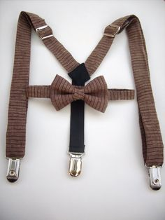 bow tie and suspenders for toddler boy  brown linen by golubchick, $40.00