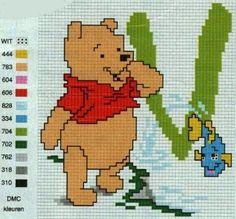 Winnie the Pooh Cross Stich Alphabet. V  Alfabeto de Winnie the Pooh para Bordar.