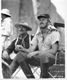 """George O'Brien and Henry Fonda on location filming """"Fort Apache"""" (1948)."""