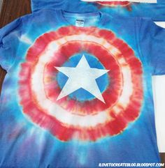 DIY captain america tie dye... if only I would have seen this a few days before. I kind of have an obsession with Captain America.......