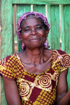 Happy colourful woman of Ghana