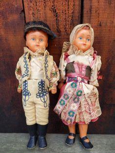 "Antique pair od 12"" dolls Slovak folk embroidered costumes Kroj celluloid toys"