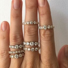 New diamond line cluster rings in the Williamsburgs store 💎💎💎We have them in both yellow gold and white gold. All are resizable. If you're interested in one of these babies visit the Williamsburg store, email mociun@mociun.com or call 7183873731 #mociun #mociunjewelry #mociunoneofakind #diamonds