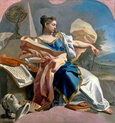 Allegory of the Arts (c.1747–1750). Francesco de Mura (Italian, 1696–1784). Oil on canvas. Louvre Museum. De Mura succeeded in expressing with great skill the refined and elusive intimacy of contemporary Neapolitan society. His vast quantity of work shows his constant preference for a subtle and intimate manner, both worldly and elegant, which eschews heroics and subtly conveys the most delicate emotions.