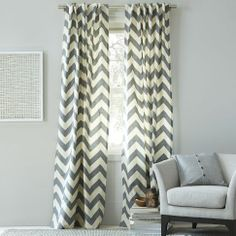 """Cotton Canvas Zigzag Curtain, Feather Gray - Wouldn't these gorgeous gray chevron curtains look great in an all-white bedroom? Talk about adding the """"wow"""" factor. Window Panels, Window Coverings, Panel Curtains, Shades Window, Bedroom Curtains, Curtain Panels, Window Treatments, Ikea Curtains, Window Drapes"""
