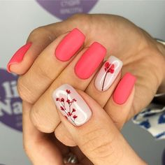 Stylish Spring Flower Nail Art Designs and Ideas 2019 - Jessica - Nails Desing Nail Design Glitter, Nail Design Spring, Spring Nail Colors, Spring Nail Art, Nails Design, Coral Nails With Design, Nails With Flower Design, Nail Design For Short Nails, Flower Nail Designs