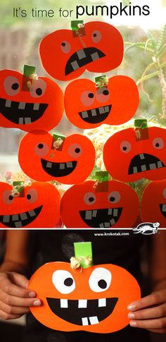 It'S time for pumpkins – cut and glue easy kid halloween crafts, pumpkin preschool crafts Theme Halloween, Halloween Arts And Crafts, Halloween Crafts For Kids, Halloween Activities, Autumn Activities, Children Activities, Thanksgiving Crafts, Holiday Crafts, Holiday Fun