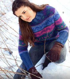 Жаккардовый пуловер с планками из кос схема спицами » Люблю Вязать