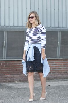 with a lace skirt Summer Stripes, Navy Lace, Denim Shirt, Lace Skirt, Chic, Skirts, How To Wear, Fashion, Women's Clothes