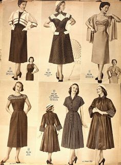 Snapped Garters: 1952 Fashions From Sears! 1950s Fashion Women, Fifties Fashion, Vintage Fashion, Vintage Dress Patterns, Vintage 1950s Dresses, 1950s Outfits, Vintage Outfits, Fashion Terms, 20th Century Fashion