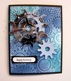Ann Greenspan's Crafts: Masculine gears birthday cards