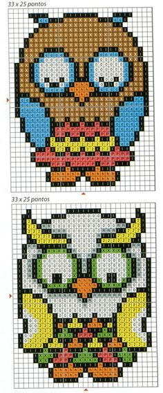 Owl Perler bead patterns — (I think this might be for embroidery but it'd work for perler beads easily, if you have a big enough board. Perler Bead Designs, Hama Beads Design, Pearler Bead Patterns, Bead Loom Patterns, Perler Patterns, Beading Patterns, Embroidery Patterns, Owl Embroidery, Cross Stitch Owl