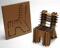 Simple cut out or flat pack chair, simple to enough to be created and constructed by one person.