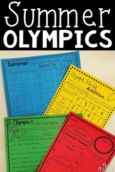 Summer Olympics Resources and No Prep Activities: Includes vocabulary, reading comprehension, writing and math.perfect for the end of the year or summer school Reading Comprehension Strategies, Reading Fluency, Last Day Of School, Summer School, Olympic Crafts, Olympic Games, Teaching Tools, Teaching Math, Word Study