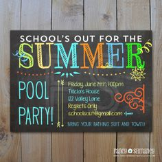 Pool Party Invitation/ End of Year Party / School's Out for the Summer / DIY Printable PDF / Digital Invitaion Sommer Pool Party, Pool Party Kids, I Party, Party Time, Party Ideas, Invitation Fete, Pool Party Invitations, Invitation Ideas, Chalkboard Invitation
