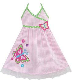 Mädchen Kleid Rosa Schottenkaro Bestickte Blume Party: Amazon.de: Bekleidung