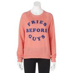 Mighty Fine ''Fries Before Guys'' Graphic Sweatshirt - Juniors