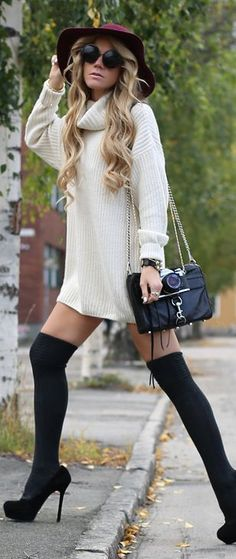 White Oversize Turtleneck + Black Thigh High Stockings (Great Winter Style!)  Black Thigh High Stockings ONLY $5!!! http://www.hotlegsusa.com/P/149/LegAvenue-OvertheKneeThighHigh