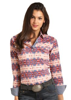 Long sleeve snap shirt with flap pockets, double princess seams, and an aztec print with contrast blue stitching. Country Concert Outfit, Cowgirl Style, Western Style, Unique Fashion, Rock And Roll, Pure Products, Clothes For Women, Long Sleeve, Shirts