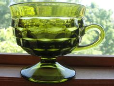 Colony Indiana WHITEHALL Avocado Green Footed Punch Snack Cup (Set of 5) #Colony Green Punch, Viking Glass, Punch Bowls, Indiana Glass, Cupping Set, Carnival Glass, Antique Glass, Vintage Colors, Teacups